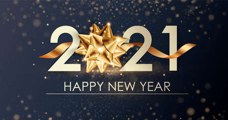 Happy New Year 2021 winter holiday greeting card design template. Party poster, banner or invitation gold glittering stars confetti glitter decoration. 免版税图像 - 154732686