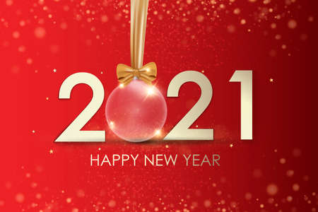 Happy New Year 2021 winter holiday greeting card design template. Party poster, banner or invitation gold glittering stars confetti glitter decoration. Vector background with golden gift bow 免版税图像 - 154732710