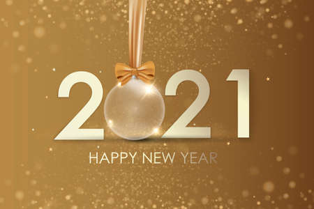 Happy New Year 2021 winter holiday greeting card design template. Party poster, banner or invitation gold glittering stars confetti glitter decoration. Vector background with golden gift bow 免版税图像 - 154732711