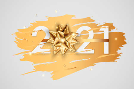 Happy New Year 2021 winter holiday greeting card design template. Party poster, banner or invitation gold glittering stars confetti glitter decoration. Vector background with golden gift bow 免版税图像 - 154732744