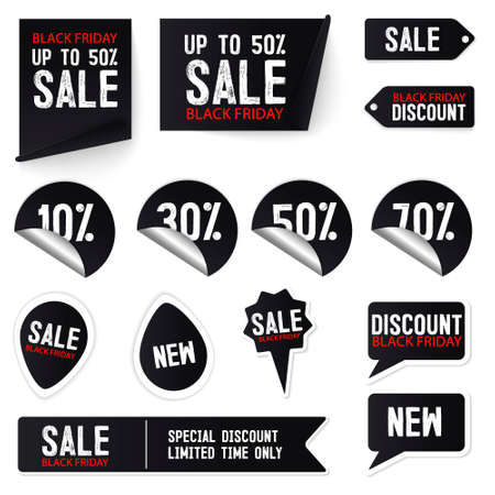 Black friday sale banner set. Black Friday sale stickers, decals, posters, banners. Price tag and best sale collection. Black ribbon sale banners isolated. New connection offers. Vector illustration 免版税图像 - 154748482