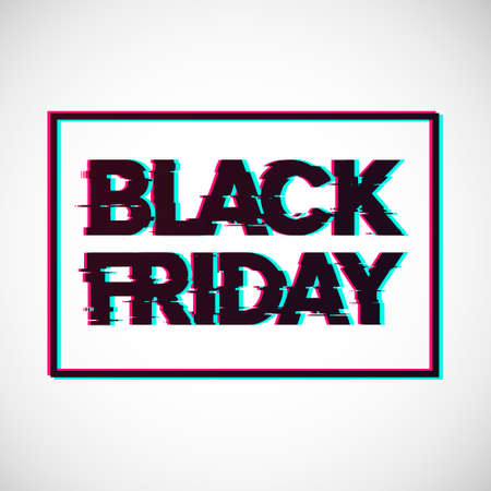 Black Friday. Sale lettering template design. Black Friday banner. Black Friday crash text. Anaglyph 3D effect. Technological retro background. Special offer. Vector illustration EPS10 Фото со стока - 154909140