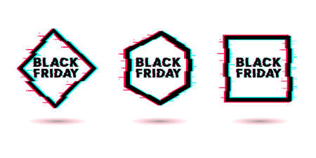 Black Friday. Sale lettering template design. Black Friday banner. Black Friday crash text. Anaglyph 3D effect. Technological retro background. Special offer. Vector illustration EPS10 免版税图像 - 154909182