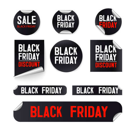 Black friday sale banner set. Black Friday sale stickers, decals, posters, banners. Price tag and best sale collection. Black ribbon sale banners isolated. New connection offers. Vector illustration
