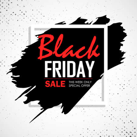 Black friday sale. Lettering template design. Black Friday banner with a black gift. Special offer. Vector illustration EPS10