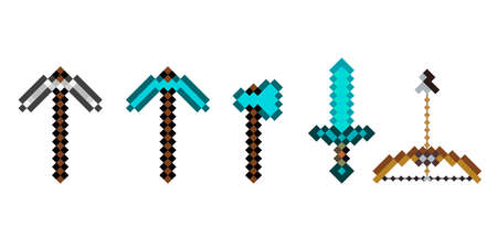 Pixel arsenal templates for printing. The concept of games weapon. Pixel ax, pickaxe, sword, bow. Vector illustration EPS 10