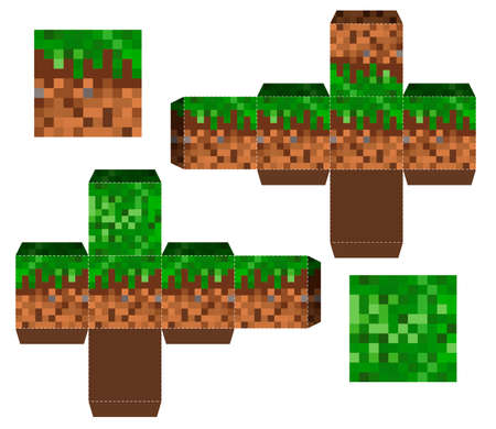 Papercraft Mini Dirt Block. Papercraft 5 Classic Blocks. Pixel background. The concept of games background. Minecraft concept. Vector illustration
