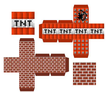 Papercraft Mini Dirt Block. Papercraft 5 Classic Blocks. Pixel background. The concept of games background. Minecraft concept. Vector illustration 免版税图像 - 155408709