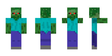 Pixel character zombie. The concept of hero games. Gaming concept zombie. Vector illustration 免版税图像 - 155408743