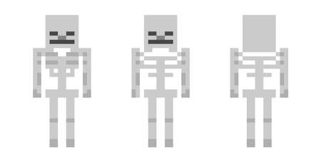 Pixel character skeleton. The concept of hero games. Gaming concept of the skeleton. Vector illustration