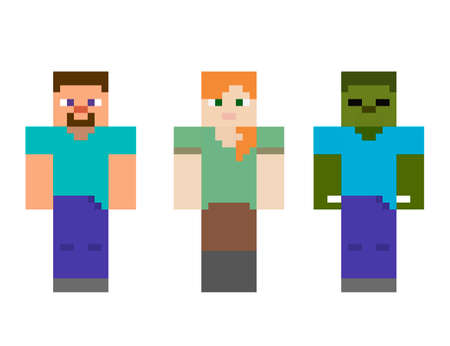 Set pixel symbol. Heroes game concept. Game concept of game characters. Vector illustration 免版税图像 - 155408945