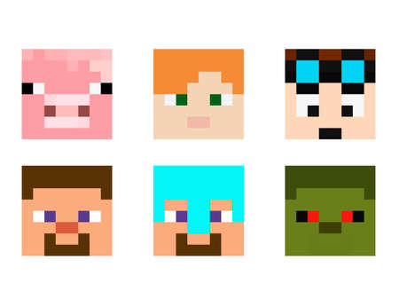 Set of pixel avatars. Heroes game concept. Avatars concept of game characters. Vector illustration 免版税图像 - 155408948