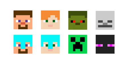 Set of pixel avatars. Heroes game concept. Avatars concept of game characters. Vector illustration 免版税图像 - 155408955