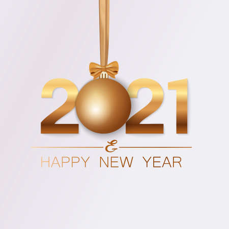New Year banner. Background New Year design of realistic numbers 2021 with bow and ribbon. New Year poster, greeting card, header, website. Vector illustration