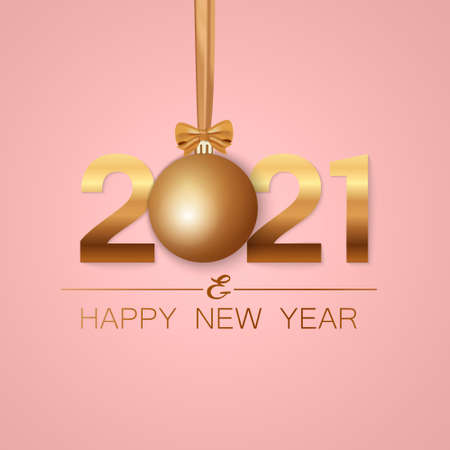 New Year banner. Background New Year design of realistic numbers 2021 with bow and ribbon. New Year poster, greeting card, header, website. Vector illustration 免版税图像 - 156581027