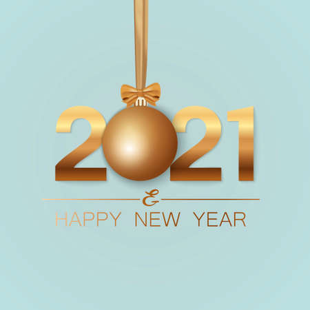 New Year banner. Background New Year design of realistic numbers 2021 with bow and ribbon. New Year poster, greeting card, header, website. Vector illustration 免版税图像 - 156581035