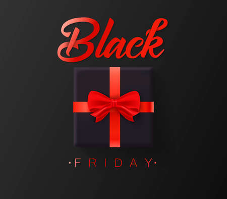 Black friday sale. Gold lettering template design. Black Friday banner with a black gift.
