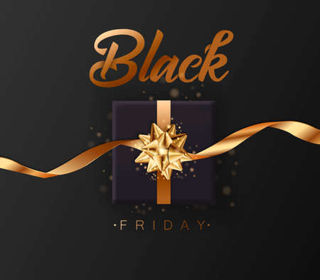 Black friday sale. Gold lettering template design. Black Friday banner with a black gift. Special offer. Vector illustration EPS10