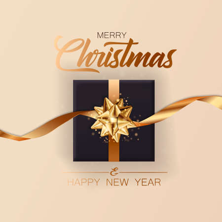 Christmas banner. Background Xmas design of realistic gift box. New Year 2021 poster, greeting card, header, website. Vector illustration