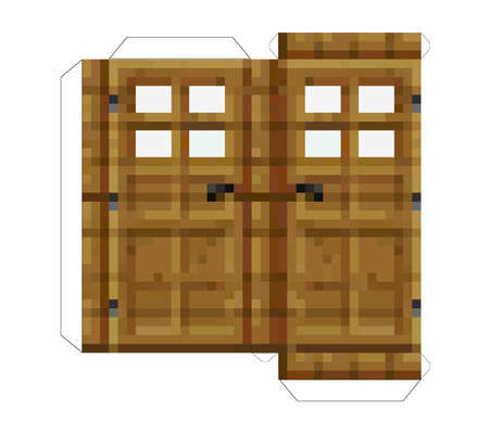 Papercraft doors. Papercraft 5 Classic Blocks. Pixel wood doors. The concept of games background. Minecraft concept. Vector illustration