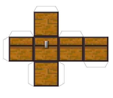 Papercraft Mini Dirt Block chest. Papercraft 5 Classic Blocks. Bricks and TNT. Pixel wood chest. The concept of games background. Minecraft concept. Vector illustration