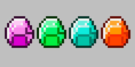 Set of vector pixel objects. Unstable Kit Mod. Stones, emeralds, gems. Pixel game objects Illustration