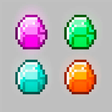 Set of vector pixel objects. Unstable Kit Mod. Stones, emeralds, gems. Pixel game objects Çizim