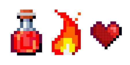 Set of vector pixel objects. Potion bottles, fire flame and heart. Objects for a pixel game