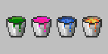 Set of vector pixel objects. Bucket container for carrying liquids and fish. Essential when building wheat farms, artificial lakes and canals, casting obsidian structures. Pixel game objects