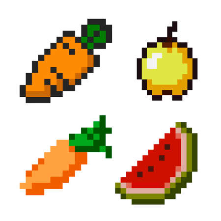 Pixel art style. Vegetables icon set Çizim