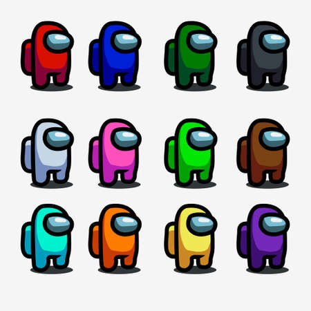 Among us is a collection of colored characters. Mobile game set of game characters.