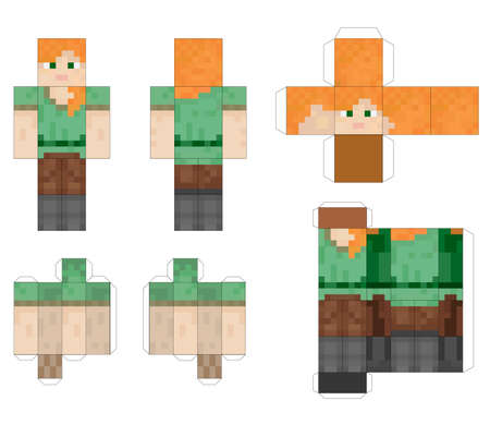 Papercraft Pixel character. Papercraft 5 Classic Blocks. Pixel background. The concept of games background. The concept of hero games. Gaming concept. Vector illustration Çizim
