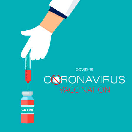 Doctor vaccinates a person. Doctors hand holds a syringe with a needle containing the 2019-nCoV vaccine. New vaccine concept for coronavirus. Spread of the CoVID-19 outbreak. Flat vector illustration