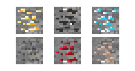 Pixel background. The concept of games background. Samples of materials and soil. Vector illustration