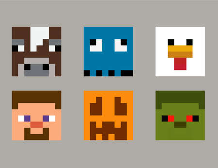 Set of pixel avatars. Heroes game concept. Avatars concept of game characters. Vector illustration