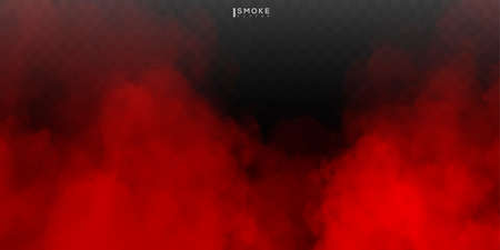 Fog or smoke isolated special effect on transparent background. Red vector cloudiness, mist or smog background.