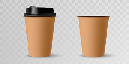 Coffee cups. Mockup template for cafe, corporate identity design. Disposable paper tableware. Vector template for hot drinks. 矢量图像