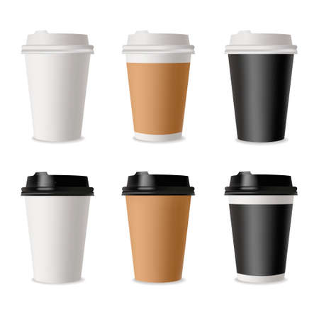 Set of coffee cups. Mockup template for cafe, corporate identity design. Disposable paper tableware. Vector template for hot drinks. 矢量图像