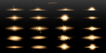 Set Shining star, the sun particles and sparks with a highlight effect, color bokeh lights glitter and sequins. On a dark background transparent. 矢量图像