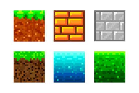 Pixel Art Icons. 2D Textures for 8-bit games. Set of vector pixel textures. Objects for a pixel game. The concept of games background. Vector illustration 矢量图像