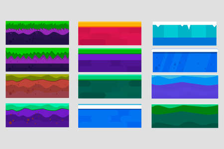 Game design ground tiles. Soil layers vector isometric set. Platforms set of different textures of soil. Nature stone, ice, landscape style interface, rock, water layers. Objects for a pixel game.