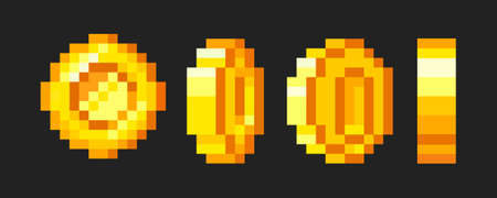 Pixel game coins animation. Golden pixelated coin. 16 bit pixels gold and video games. Golden coins rotation stages. Vector illustration