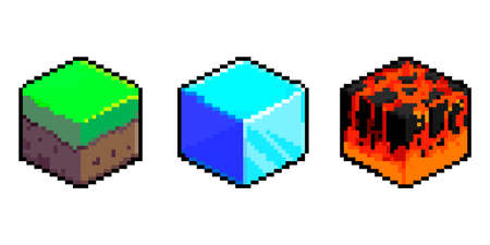 Isometric Soil Layers diagram. Pixel Art Icons. 3D Textures for 8-bit games. Set of vector pixel textures. The concept of games background. Isometric soil layers with top layer of grass, ice, lava 矢量图像