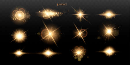 Set Shining star, the sun particles and sparks with a highlight effect, color bokeh lights glitter and sequins. On a dark background transparent. Vector, EPS10 矢量图像