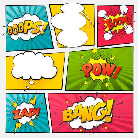 Comic cartoon sound bubble speech. Set comic speech bubble for text. Vector comic 矢量图像