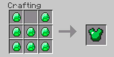 Pixel menu crafting. Craft Emerald Armor. Eight bit slab on a gray background. Pixel game window for creating items. Vector illustration. Vector illustration 矢量图像