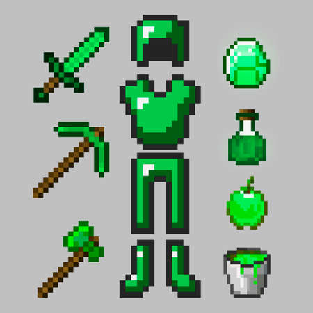 Big set of emerald pixel armor isolated on gray background. Green Emerald Armor, Sword, Pickaxe, Ax, Stone, Apple, Potion. 8-bit style is drawn in a flat style. Pixel game objects.