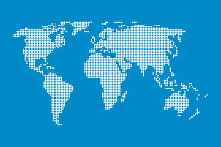 Dotted world map. Dots globe world map. global geography dotted pattern. Halftone circles forming a map of the world.Vector image