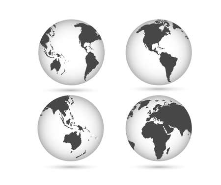 Earth globes set. Planet Earth in different angles. Vector image