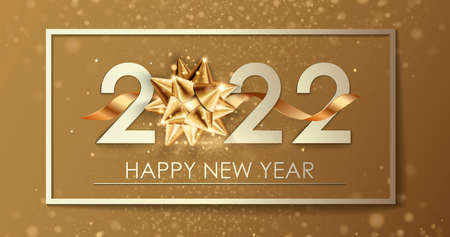New Year banner. Background New Year design of realistic numbers 2022 with bow and ribbon. New Year poster, greeting card, header, website. Vector illustration 免版税图像
